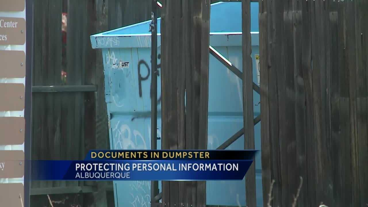 Documents in dumpster