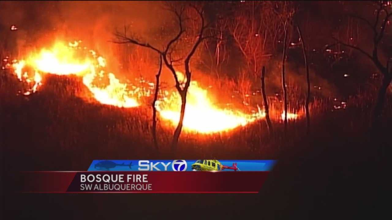 Albuquerque firefighters are still battling hot spots after a fire started in the Bosque near Tingley Beach late Saturday night