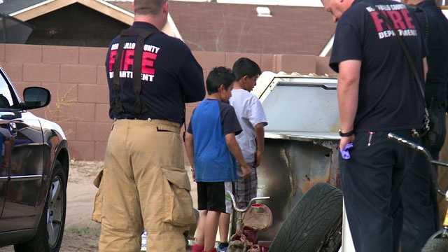 Kids extinguish fire