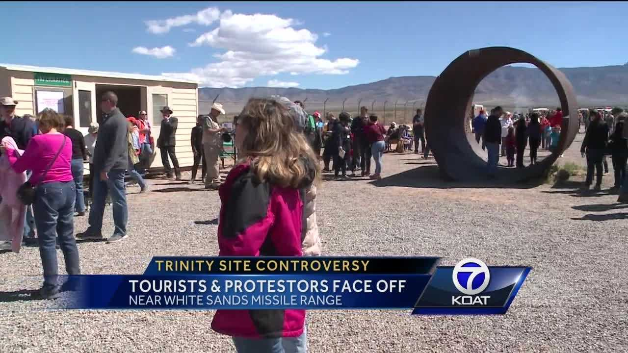 Tourist and protesters went to the Trinity Site today.
