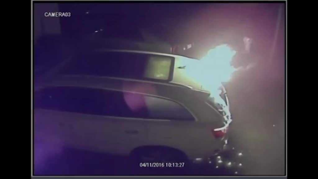 Video: Suspects seen firebombing SUV of Johnny Tapia's widow