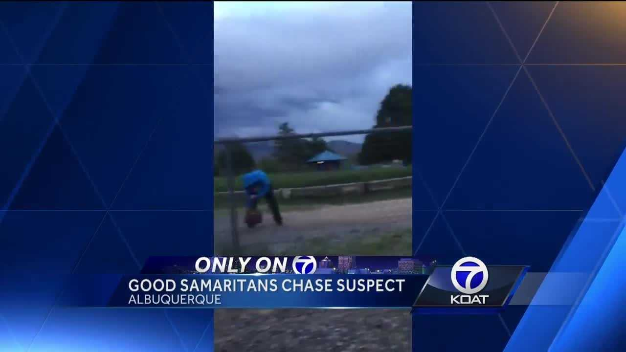 A pair of good Samaritans chased a suspect who stole a woman's purse.