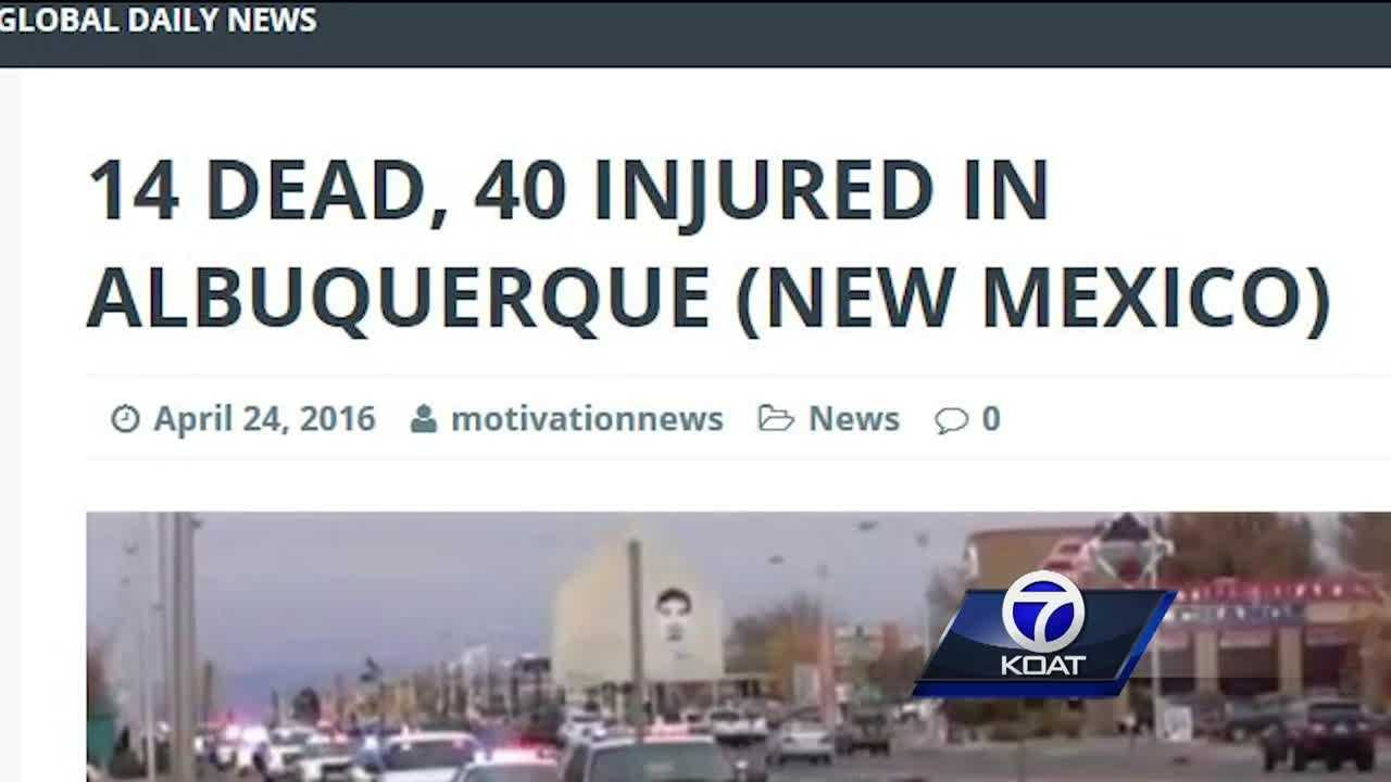 A fake news website reports 54 people shot in Albuquerque but APD fears this website could have a computer virus on it.