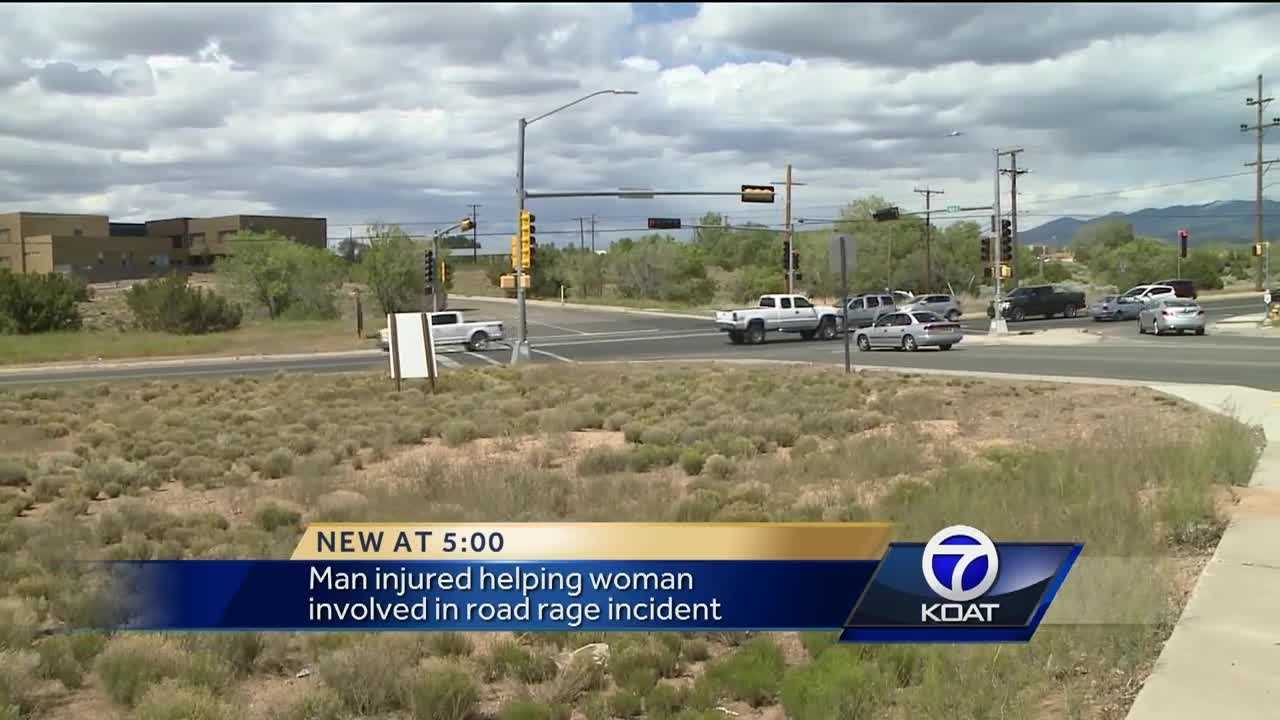 Man injured helping woman invoved in road rage incident.