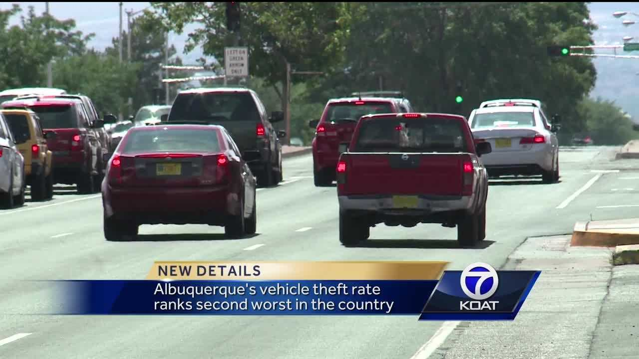 Albuquerque's vehicle theft rate ranks second worst in the country.