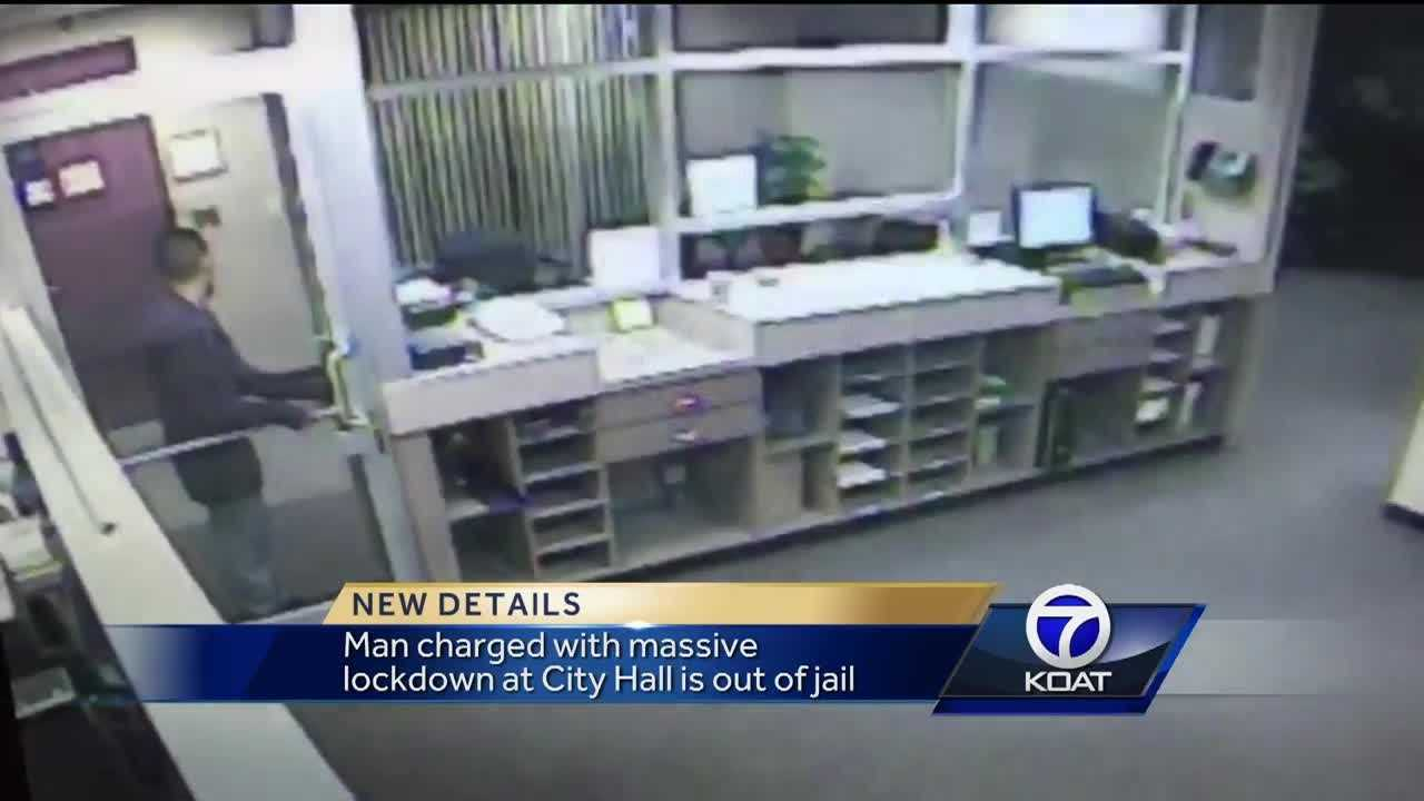 A man charged with massive lockdown at City hall is now out of jail.