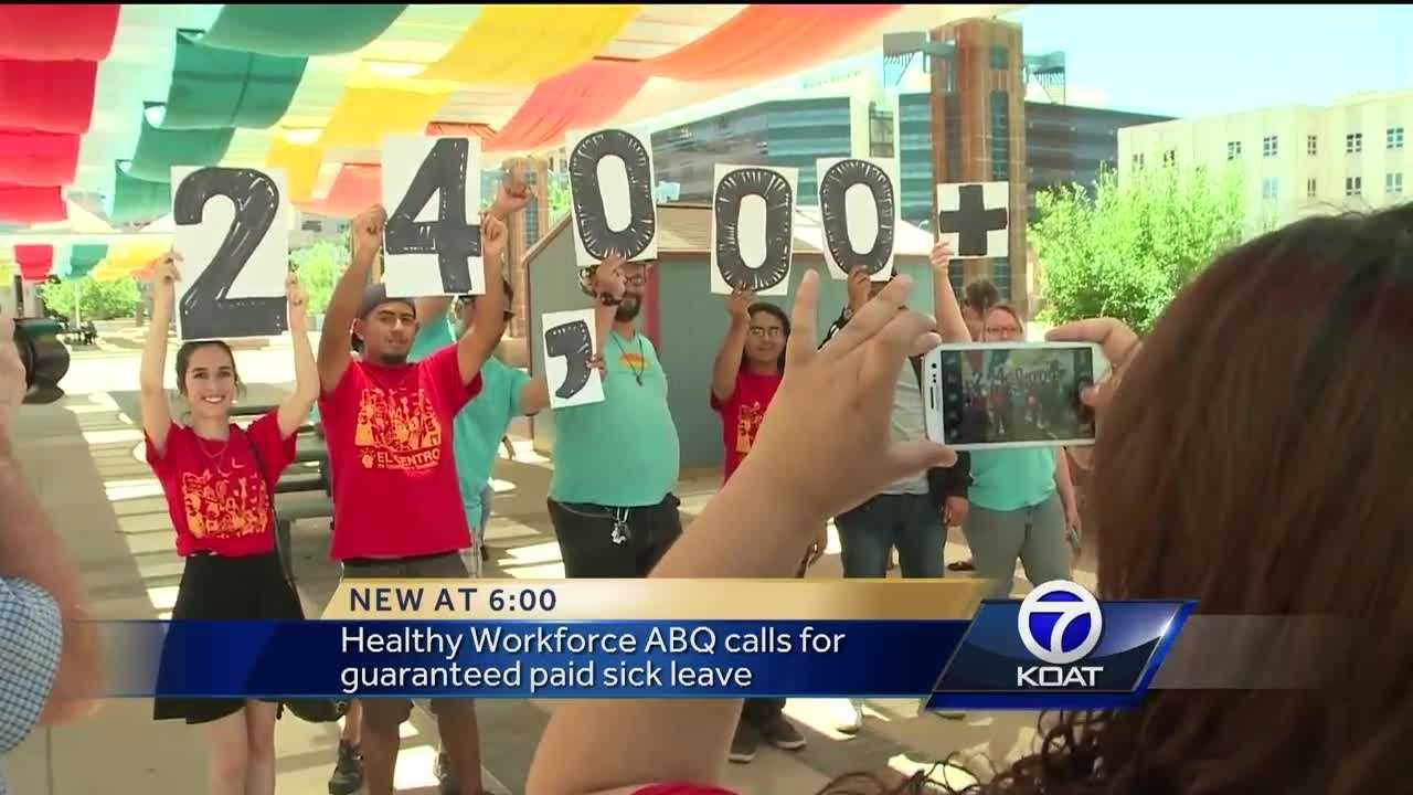 Dozens of people marched through downtown Albuquerque, holding posters with the number 24,000. It's the amount of signatures they have in favor of a vote for mandatory paid sick leave.