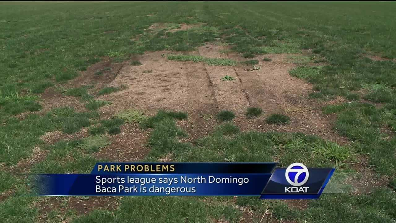 Sports league says North Domingo Baca Park is too dangerous to play on.