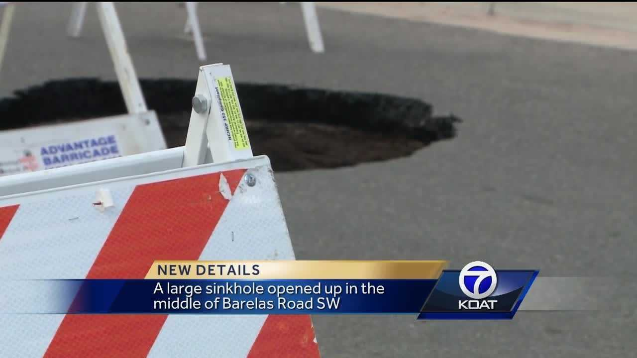 A large sinkhole opened up in the middle of Barelas Road SW.