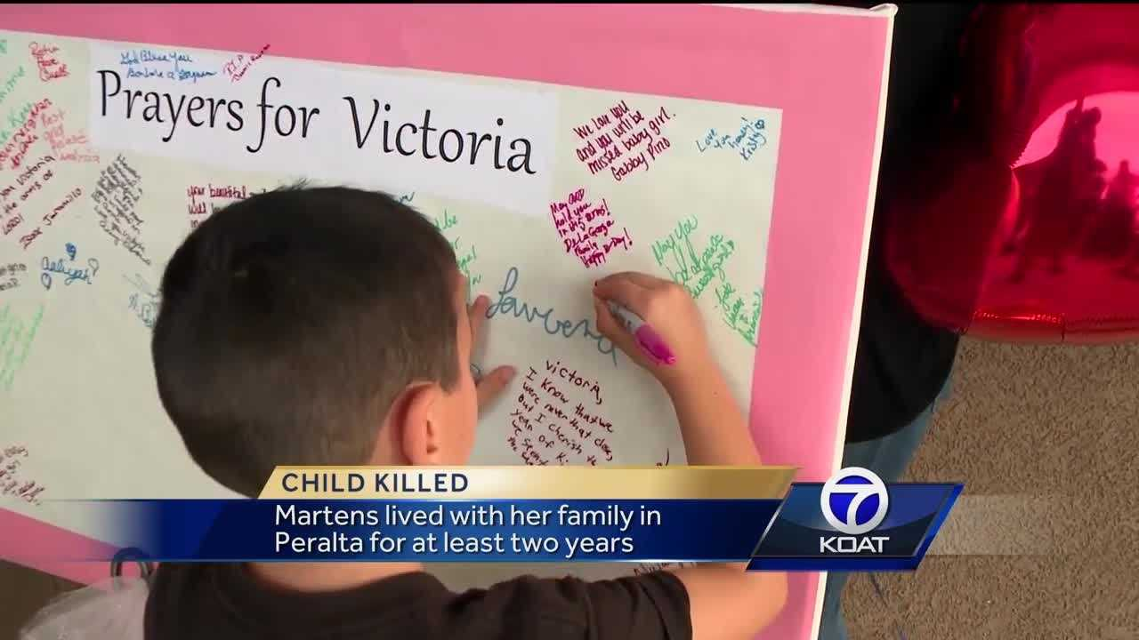 People gathered at Peralta daycare for vigil honoring Victoria Martens.