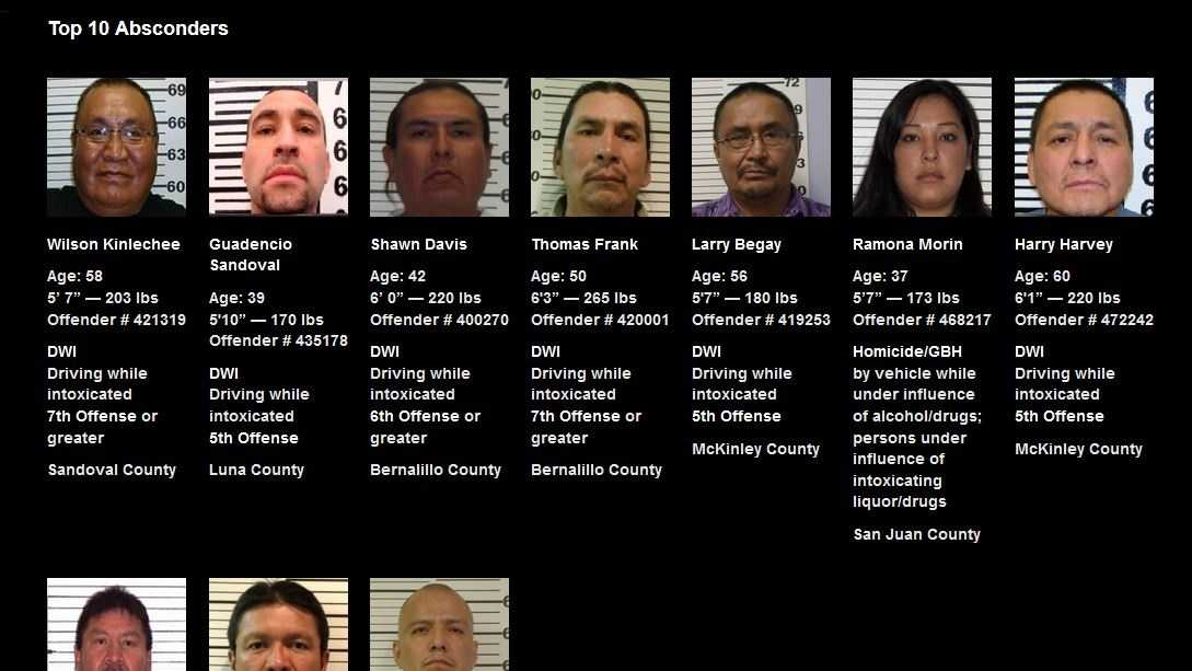 Top ten DWI fugitives