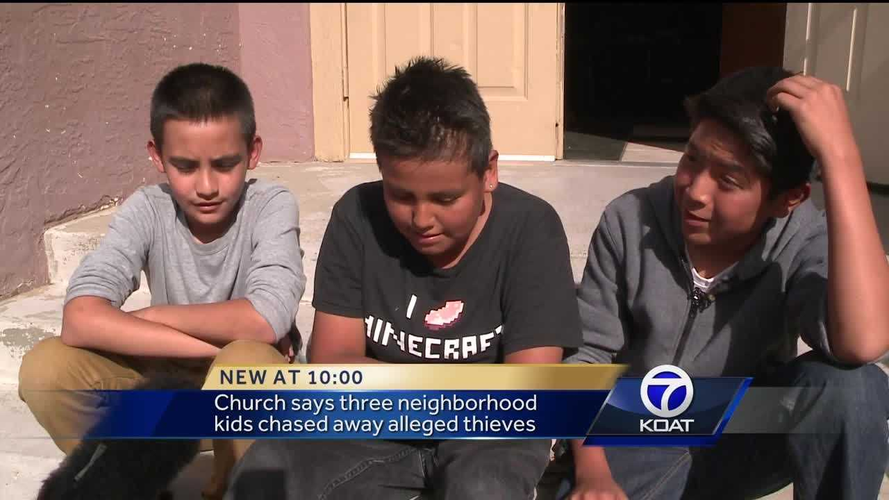 Church says three neighborhood kids chased away alleged thieves.