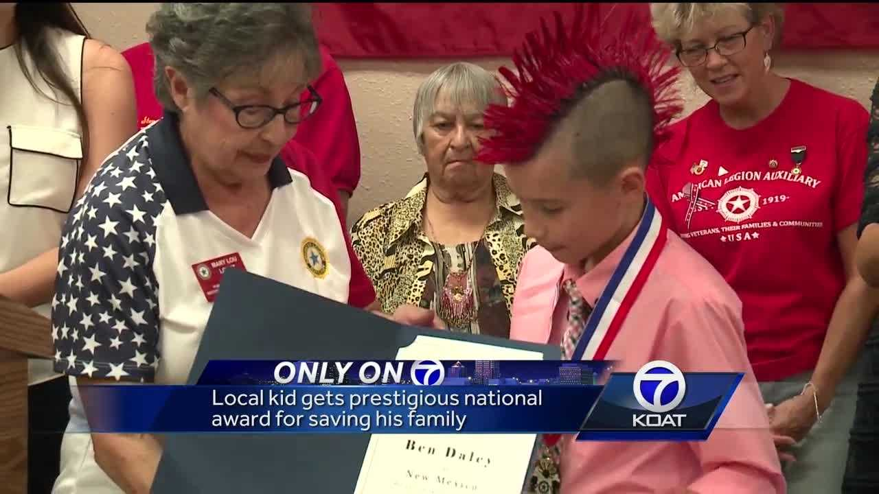 Local kid gets prestigious national award for saving his family.