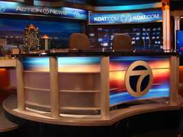 News DeskReady for the final product? Here's part of it: the news desk. The desk has only two places to sit, because the First Alert Weather team and our sports team both have their own separate areas off to the side.