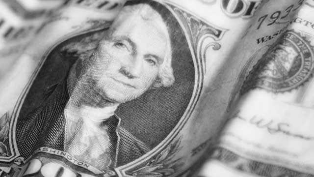 Closeup of dollar bill, money, George Washington