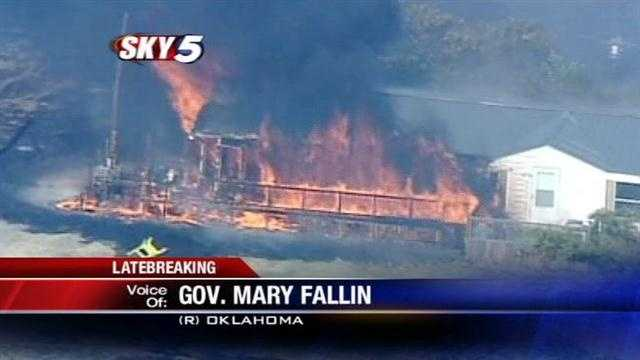 Gov. Mary Fallin talks about the steps being taken as multiple wildfires burn out of control across the state including an emergency command center.