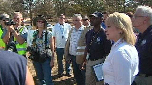 Oklahoma Gov. Mary Fallin joined officials with FEMA and the SBA for a tour of wildfire damage across Cleveland County.