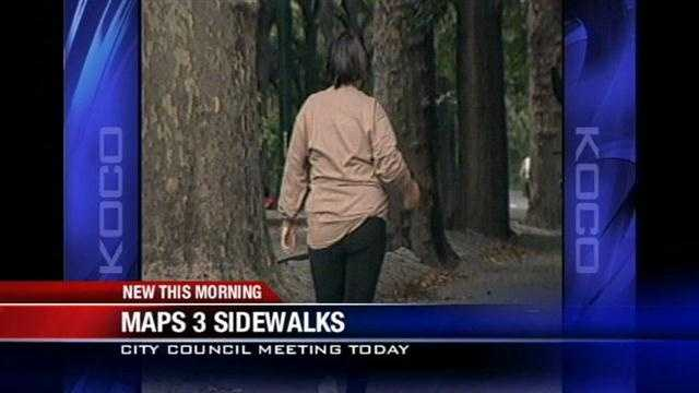 An Oklahoma City Council meeting Tuesday may discuss plans for new sidewalks.