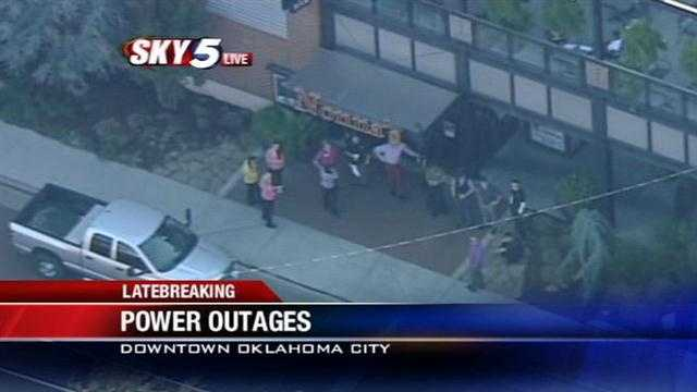 Sky5 is over the scene of a power outage across downtown Oklahoma City on Wednesday.