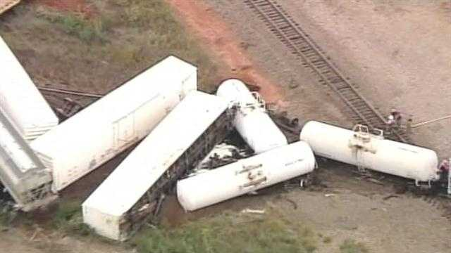 Sky5 was above the scene of a train derailment near Perry on Thursday. A BNSF train derailed, 19 cars in all. Nobody was injured.