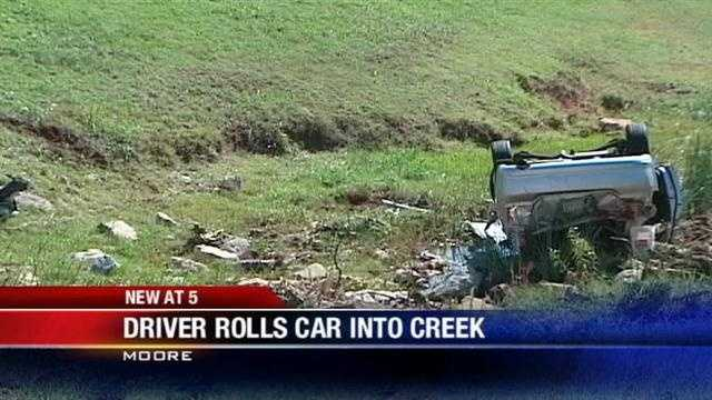 Man flips car into creek in Moore
