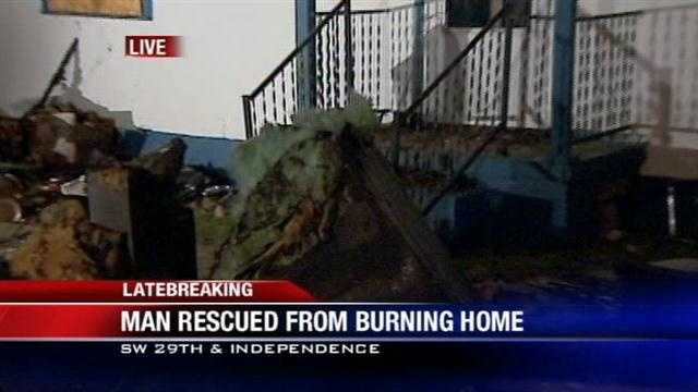 A man is in the hospital this morning after his home went up in flames.