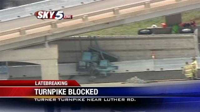 The Turner Turnpike's eastbound lanes have been closed at Luther Road, mile marker 147, after a tractor-trailer struck a bridge.