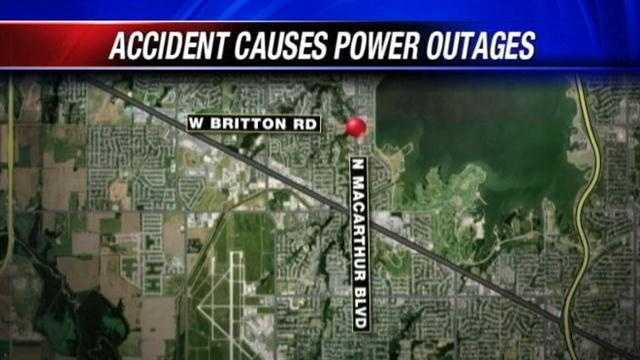 Car crashes into pole, creates power outage