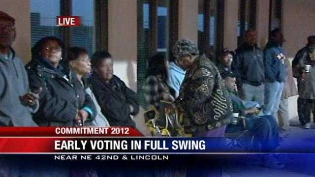 Voters line up for early voting on eve of election