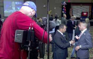 Wendell talks to incoming Oklahoma house speaker T.W. Shannon.