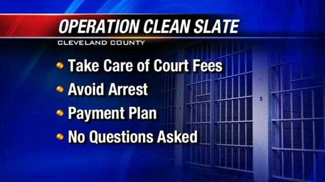 "Cleveland County is offering a ""clean slate"" to residents Thursday so they can handle outstanding citations without getting arrested."