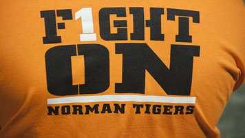 """The Tigers slogan for their sports, """"Fight On"""" is also a part of their school song. The students represented well with these t-shirts."""