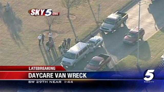 Minor injuries have been reported in a daycare van crash in southwest Oklahoma City, according to EMSA.