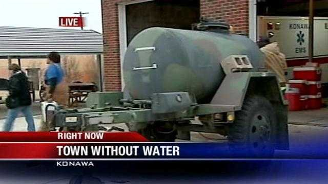 Officials with the City of Konawa say all of its 1,298 residents have been without water since Sunday night.
