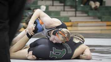 Norman High opened the night strong in the lower weights. Norman led 11-0 over North after Lucas Stanfield (Norman, Top) defeated Jake Thornton in the 120 weight class.
