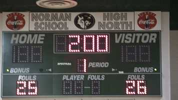 Norman High led 26-25 going into the final match, a 285 weight class battle in the heavyweight division. Norman North would win 28-26. Look for the video of the match where Austin McTrusty defeats Jake Stinson.