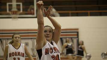Norman's Bethany Cox (24) hits a free throw during their loss Friday night.