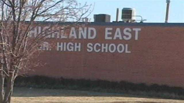Authorities say a student at Highland East Junior High School in Moore brought a large knife and two guns to school.
