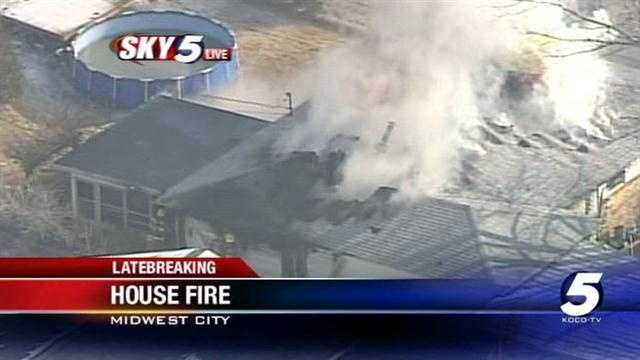 Midwest City home goes up in flames