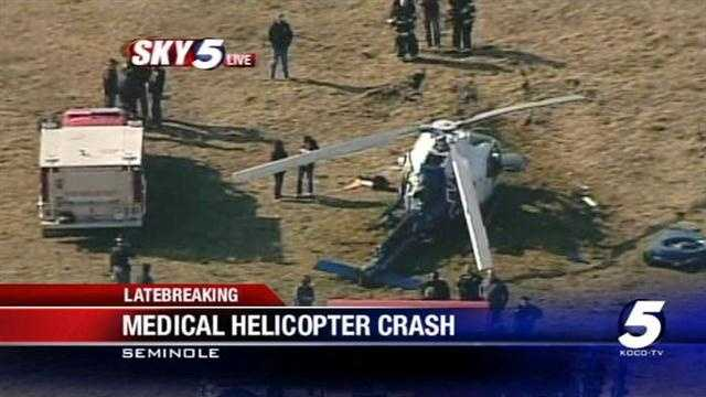 A medical helicopter headed to Creek Nation Community Hospital crashed near the town of Cromwell on Wednesday afternoon. An Oklahoma Highway Patrol spokesman says four people were injured.
