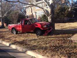 Police said the pursuit started after officers ran a check on this red pickup and discovered it had been stolen.