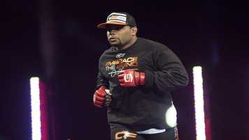 Daniel Cormier jogs to the cage for the co-main event at Strikeforce: Finale.