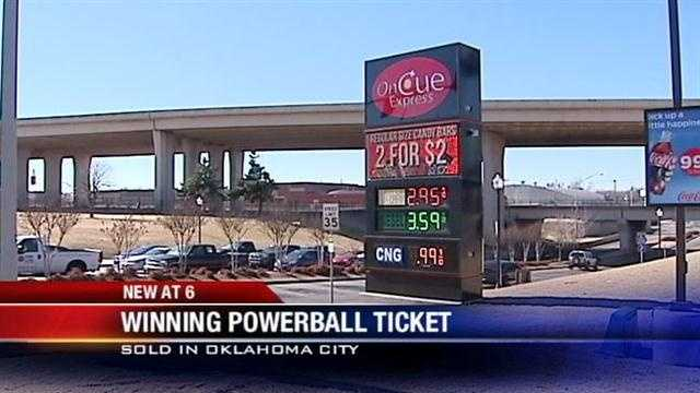 An Oklahoma City store has sold a $2 million Powerball ticket. The ticket was bought at the On Cue near Northwest 23rd Street and Broadway Extension.