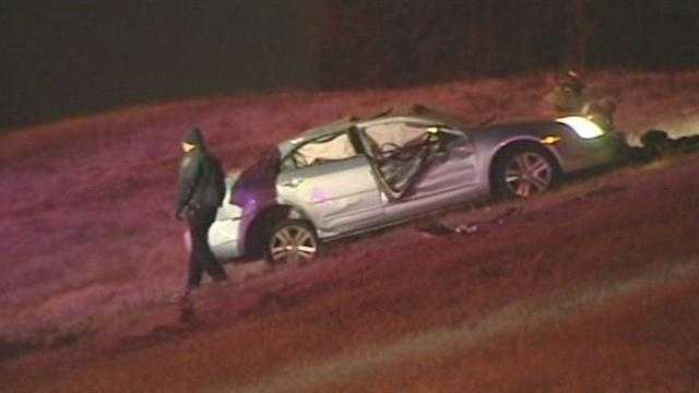 Search for 2 suspects after crash near I-35