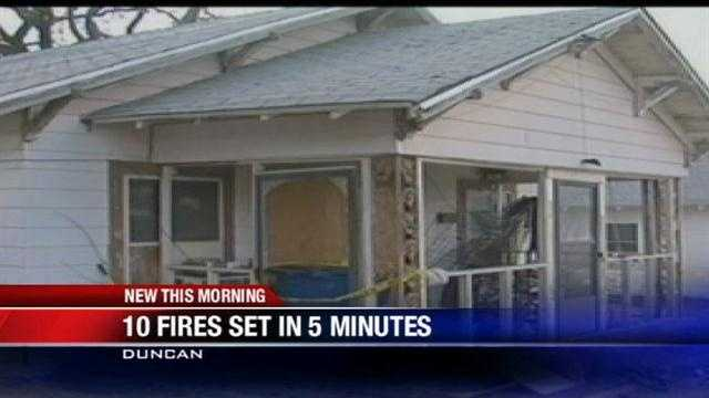 10 house fires set in 5 minutes in Duncan, fire officials say