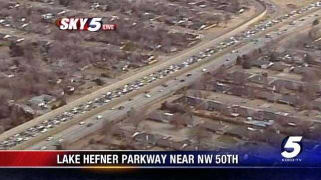 Pedestrian hit along Lake Hefner Parkway