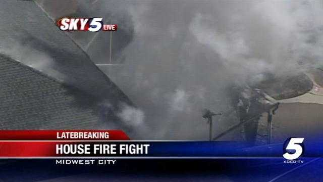 Fire burning at home in Midwest City