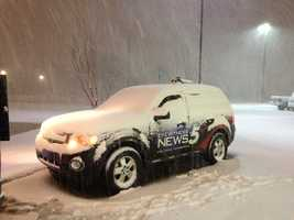 Our KOCO team in Woodward had to clear off the truck before going live on KOCO-5.