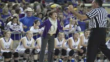 Okarche head coach Cherie Myers is unhappy with a call against her Lady Warriors.
