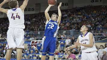 Jake Lazenby (22) goes for two points as he is greeted by a Weleetka player.